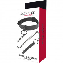 DARKNESS THIN BLACK FULL COLLAR  WITH LEASH