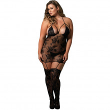 LEG AVENUE STRAPPY SUSPENDER BODYSTOCKING NERO
